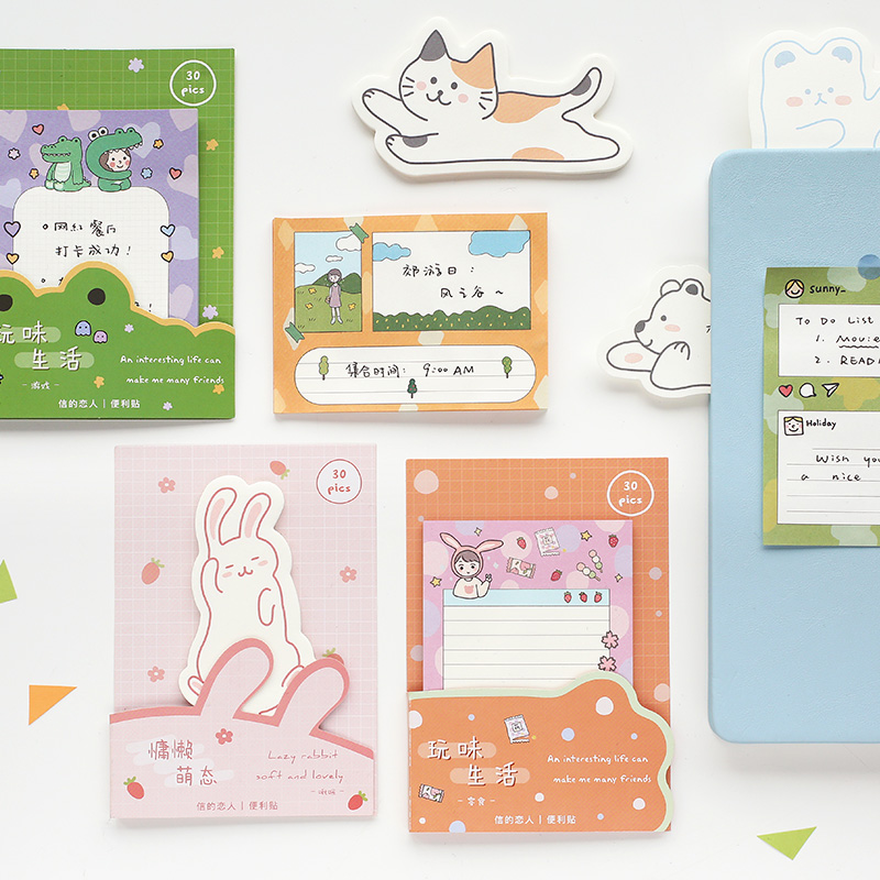30 Sheets Lovely Animals Cartoon Sticky Notes Memo Pad Planner Stickers Notebook Stationery Gift