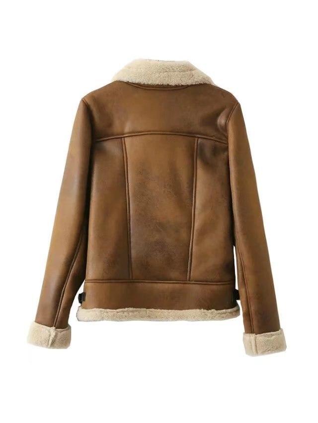Automne et hiver nouveau Style Europe et amérique femmes robe agneaux laine peau de daim velours col rabattable veste de motard chaud plus