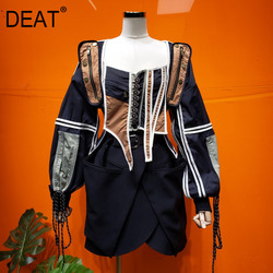 DEAT new color square collar sleeveless vest V-neck and contrast colors spliced waist jacket two pieces set WN67901