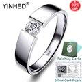 Серебряный сертификат! YINHED Настоящее серебряное 925 пробы кольцо имитация бриллианта обручальное кольцо для мужчин t кольца для мужчин ювели...