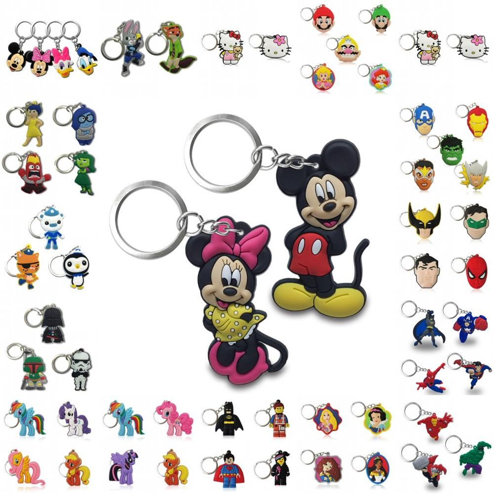 20PCS Keychain PVC Cartoon Key Chain Marvel Mickey Anime Figure Minnie Key Ring Keychain Key Holder Fashion Charms Trinket