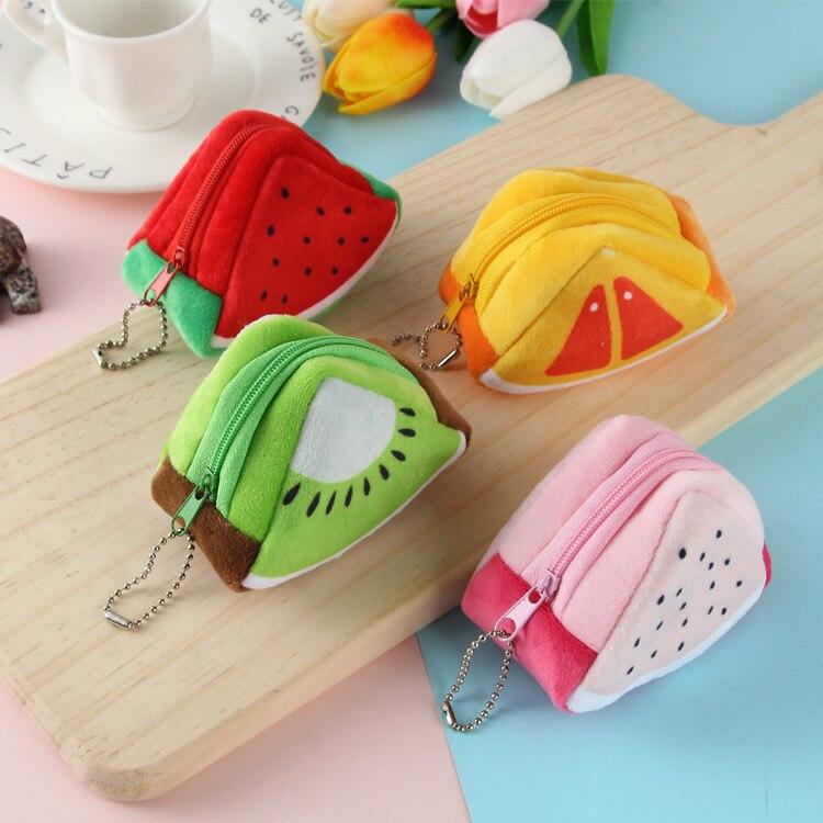 Creative Plush Stereo Triangular Fruit Purse Cute Watermelon Coin Purse Key Children's Day Gift