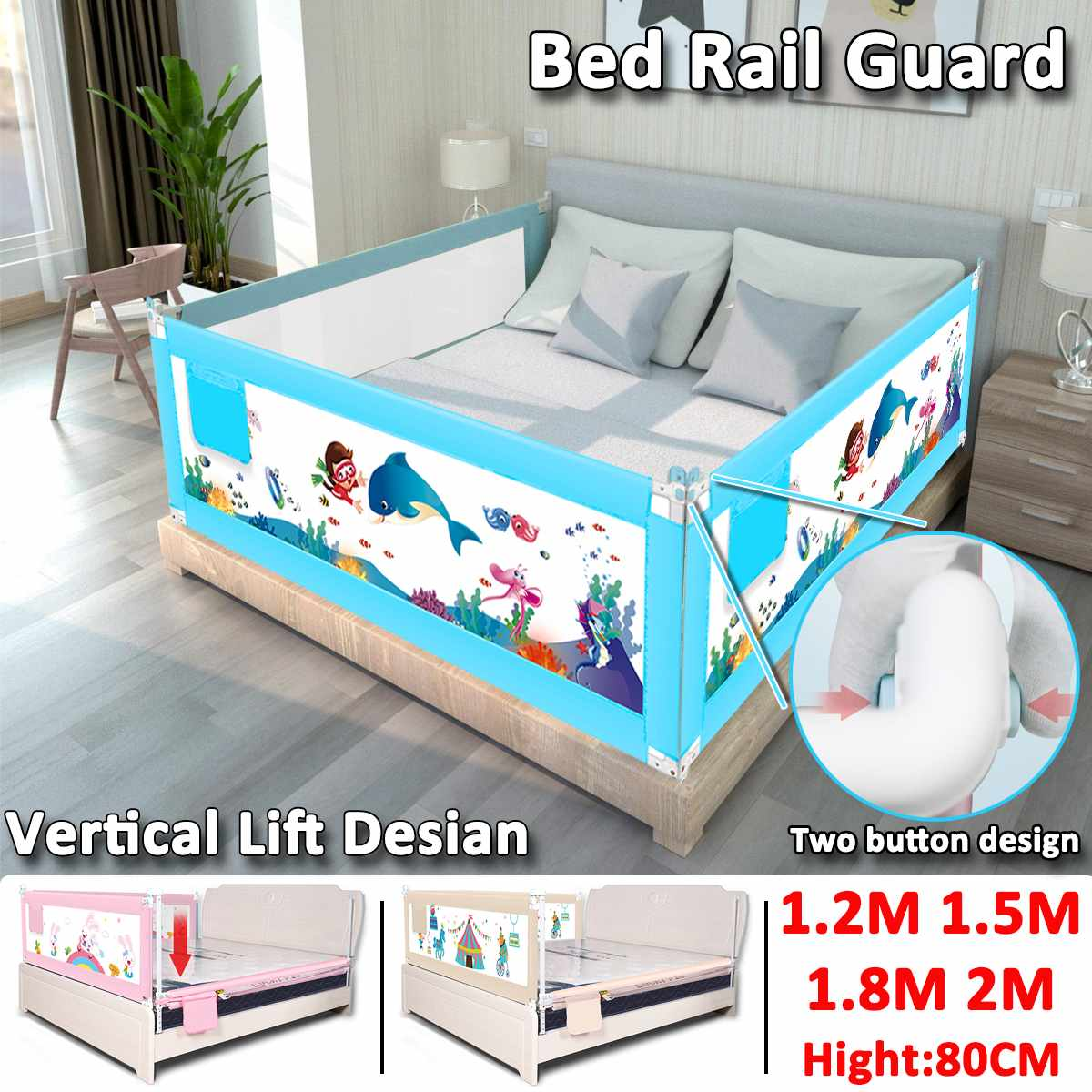 63 to 83 cm Height Adjustable Kid Bed Guard with Foldable Railing Sleep for Baby Safety from Falling from Bed 1