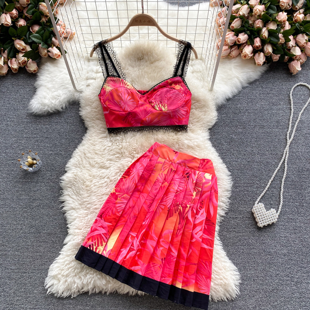 Fashion Summer Holiday Beach Dress 2 Piece Set Women Vintage Print Strapless Tank Crop Top with Pleated Skirt Suit Party Outfit 5