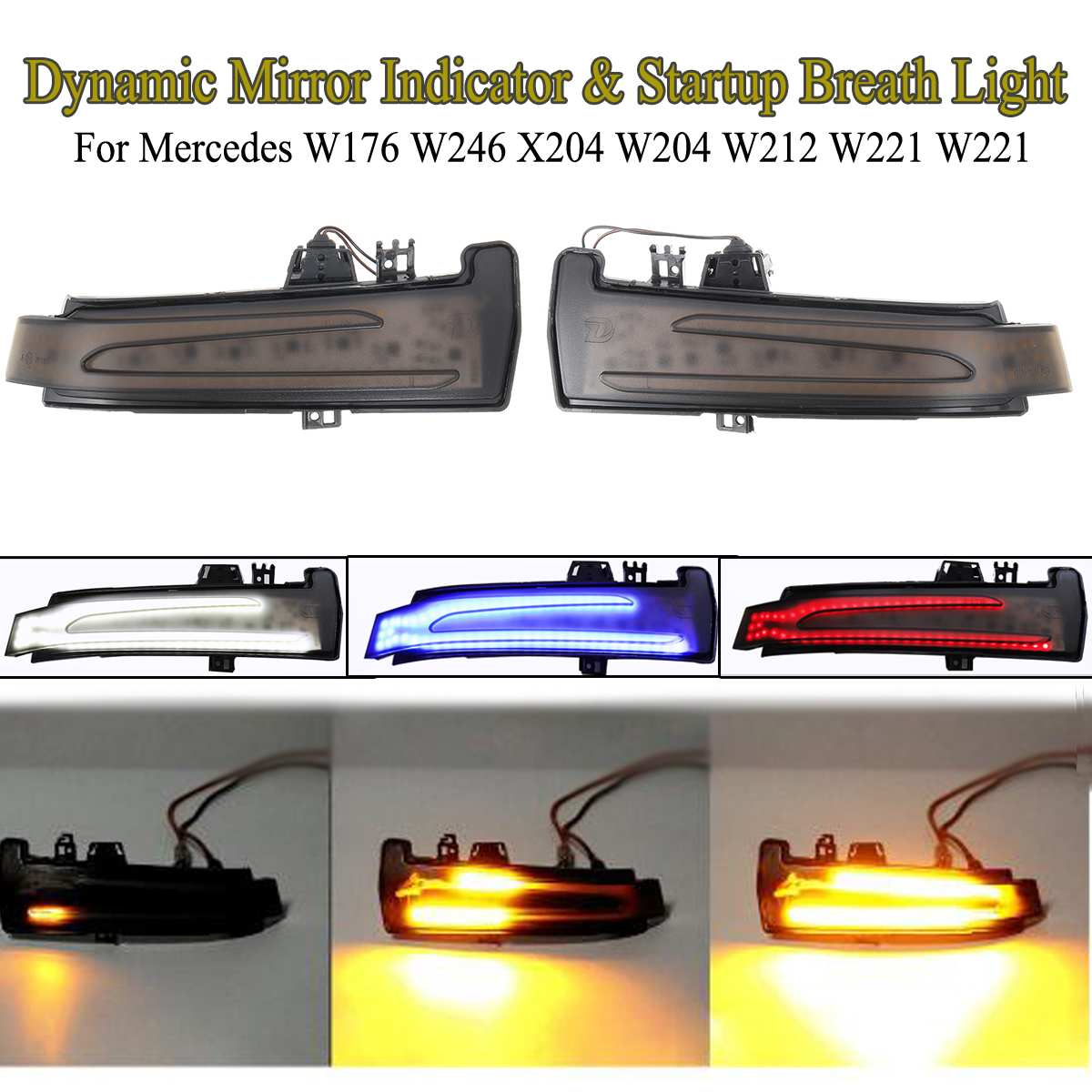 2x Dynamic <font><b>LED</b></font> Side Wing Mirrors Indicator Flowing Turn Signal Light Amber & Startup Breath Light for <font><b>Mercedes</b></font> <font><b>Benz</b></font> <font><b>W205</b></font> W213 image
