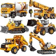 Engineering Bulldozer Crane Dump Truck Tech Building Blocks City Construction Vehicle Car Bricks Educational Toys Kids Gift