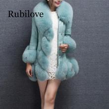 Rubilove 2019 6XL Winter Autumn Women jacket coat Leather fox Coats Faux Furry fur Office Long Coat