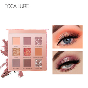 FOCALLURE 9 Colors Sunrise Eyeshadow Palette Highly Pigmented Smooth Shades Glitter Eye Shadow
