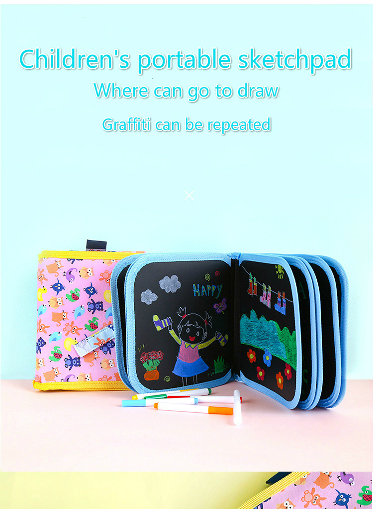 3 PCS Hot style Give the children write portable sketchpad DIY graffiti paintings chalkboard erasable gouache painting strokes in Drawing Toys from Toys Hobbies