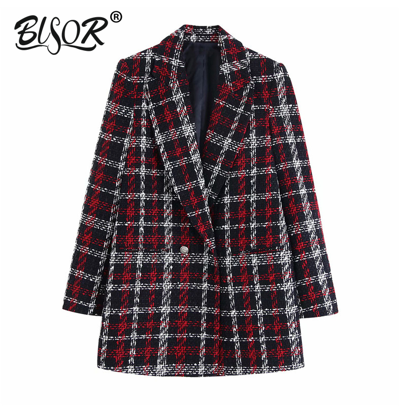 2019 Fashion Women Stylish Office Lady Plaid Double Breasted Tweed Blazer Coat Long Sleeve Pockets Outerwear Chic Tops