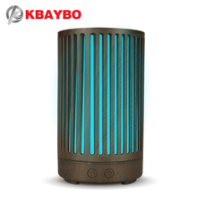 KBAYBO 100ml Electric Essential Oil Aroma Air Diffuser Humidifier Wood Hollow Cylinder with 7 Color LED Night Light for Home