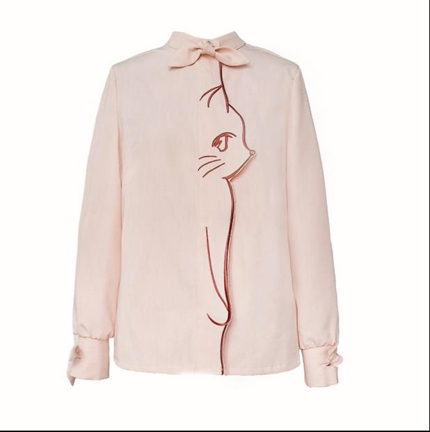 Autumn New Women Pink Shirts Cartoon Animal Embroidery Female Shirts Sweet Bow Collar Woman Shirts Tops