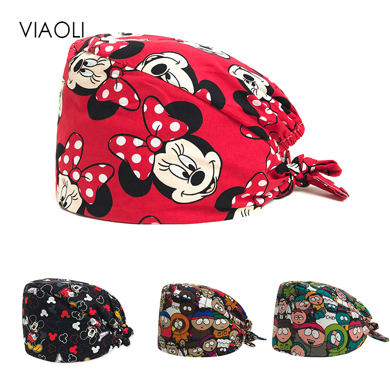 Viaoli New Cotton Scrub Caps For Women And Men Hospital Medical Hats Print Tieback Elastic Section Surgical Caps