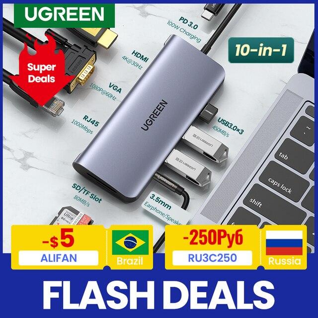 UGREEN USB HUB C HUB HDMI Adapter 10 in 1 USB C to USB 3.0 Dock for MacBook Pro Accessories USB-C Type C 3.1 Splitter USB C HUB 1