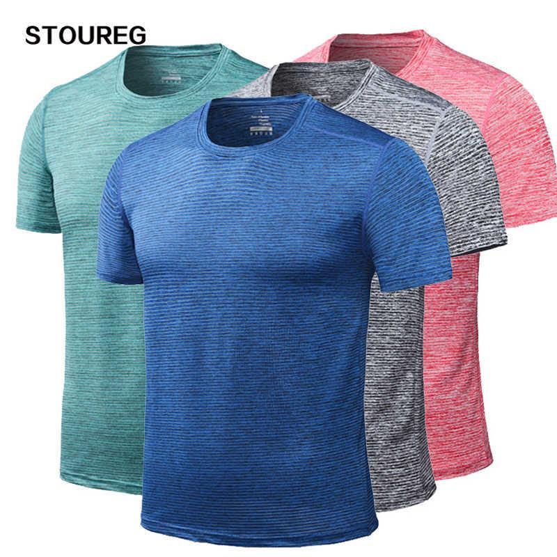 L-4XL erkek koşu t-shirt hızlı kuru koşu spor spor gömlek erkek egzersiz gömlek Tees futbol forması erkek spor