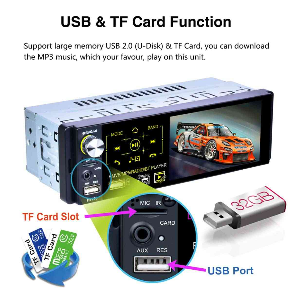 4.1 inç 1 DIN araba Stereo radyo Autoradio dokunmatik ekran MP5 çalar FM AM RDS bluetooth AUX geri görüş kamerası direksiyon kontrolü