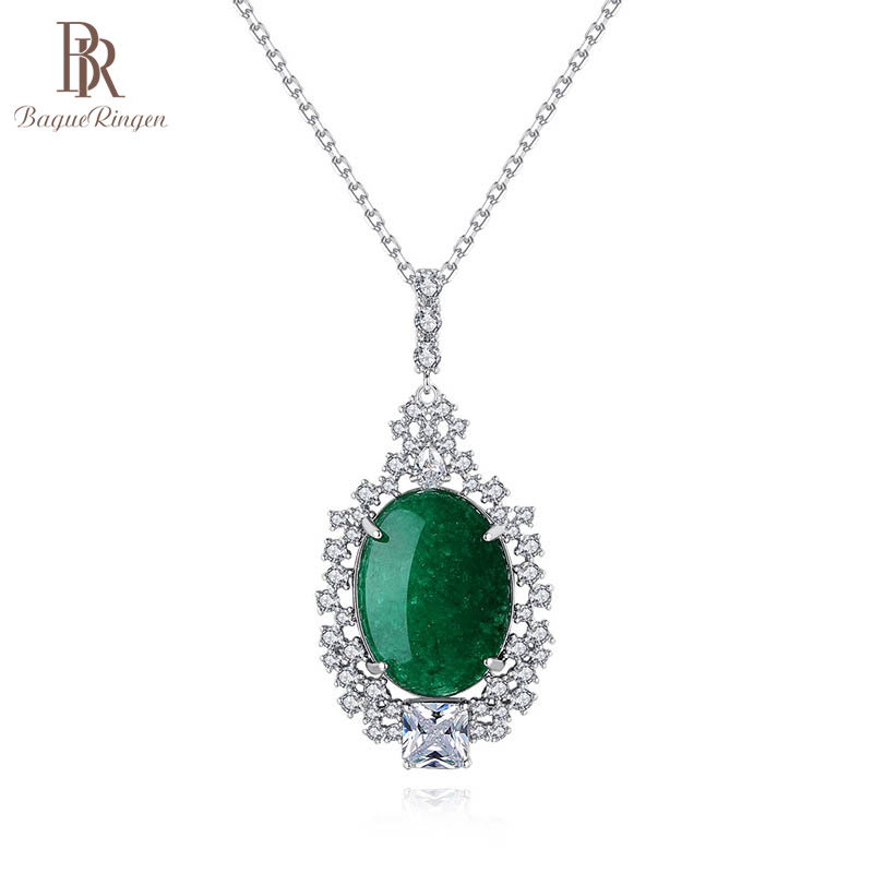 Bague Ringen Geometry Silver 925 Jewelry Green Chalcedony Pendant Necklace For Women Trendy Female Party Accessory Wholesale