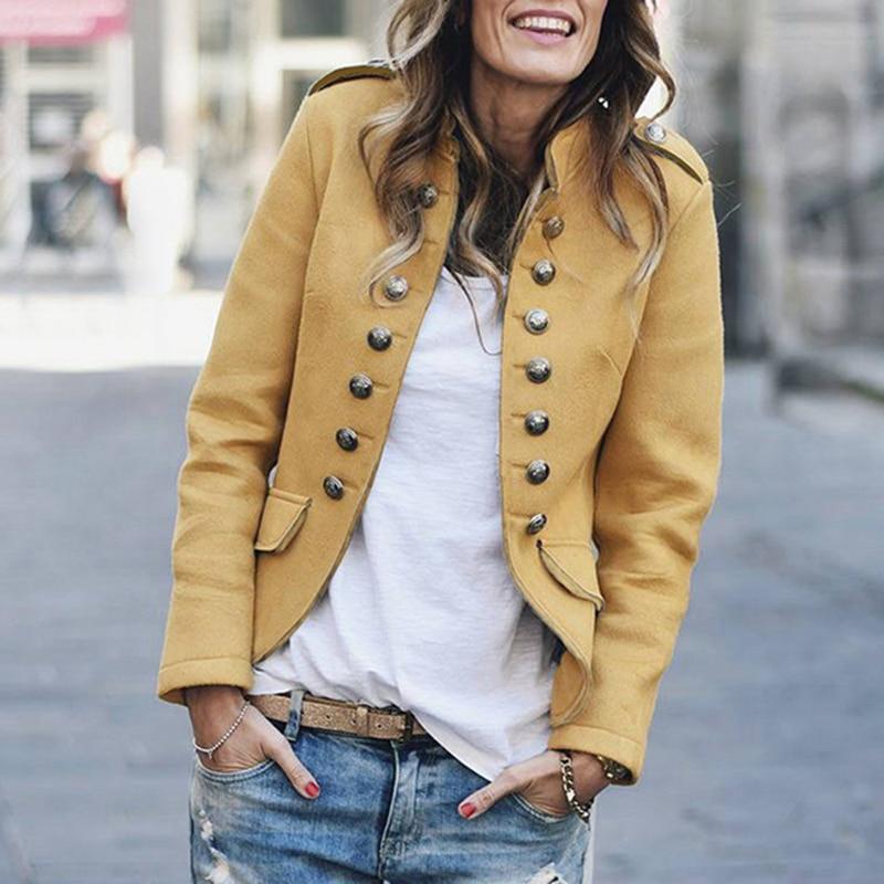 OEAK 2019 Autumn Casual Suit Jackets Women Long Sleeve Slim Short Coat Double-Breasted Female Basic Small Suit Cardigan Top