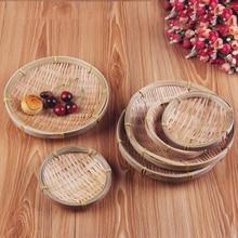 Ручное бамбуковое плетение круглое хранилище корзина для фруктов блюдо из ротанга хлебная корзина для кухни еда Пикник хлеб не лень мини контейнер