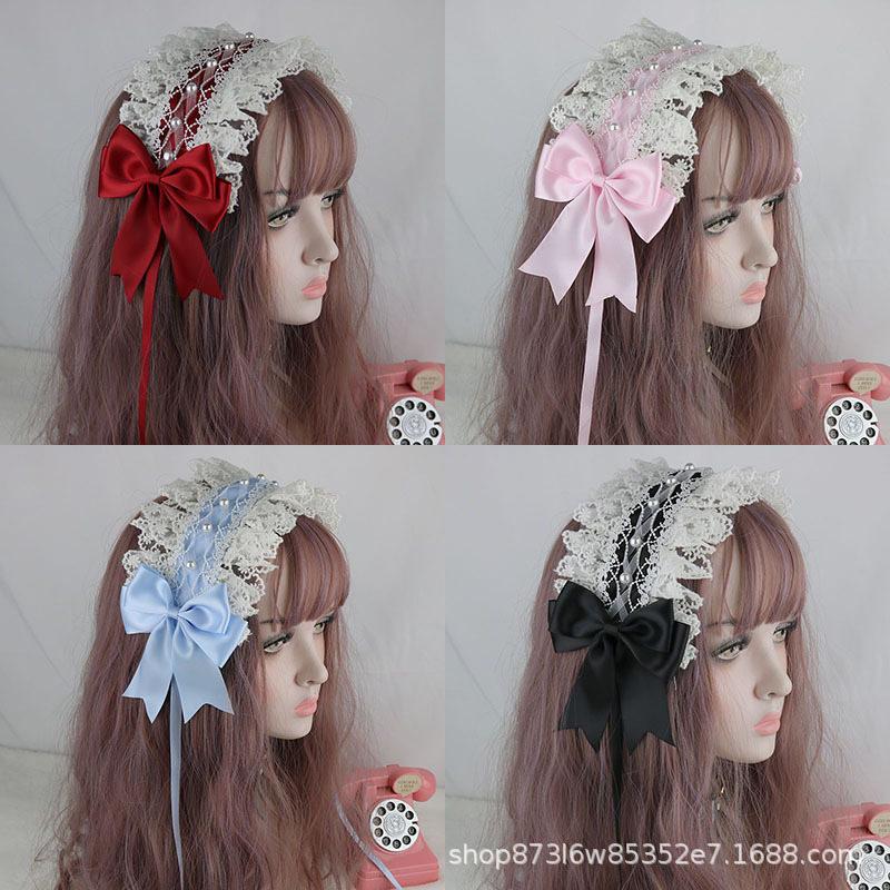 New Sweet Lolita Headband off-White Headpiece of Lace Lolita Wild Hair Band gothic Lolita accessories headband scrunchie