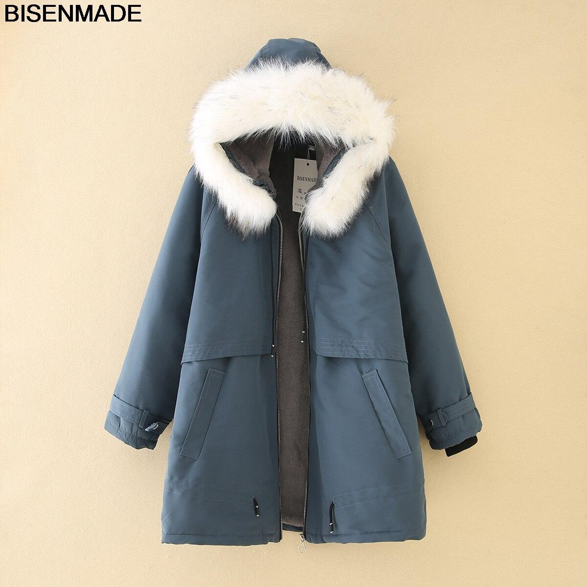 BISENMADE Oversize Women's Wool Liner Parkas Winter Warm New Style Loose mid-length Fur Collar Hooded Coat Jacket