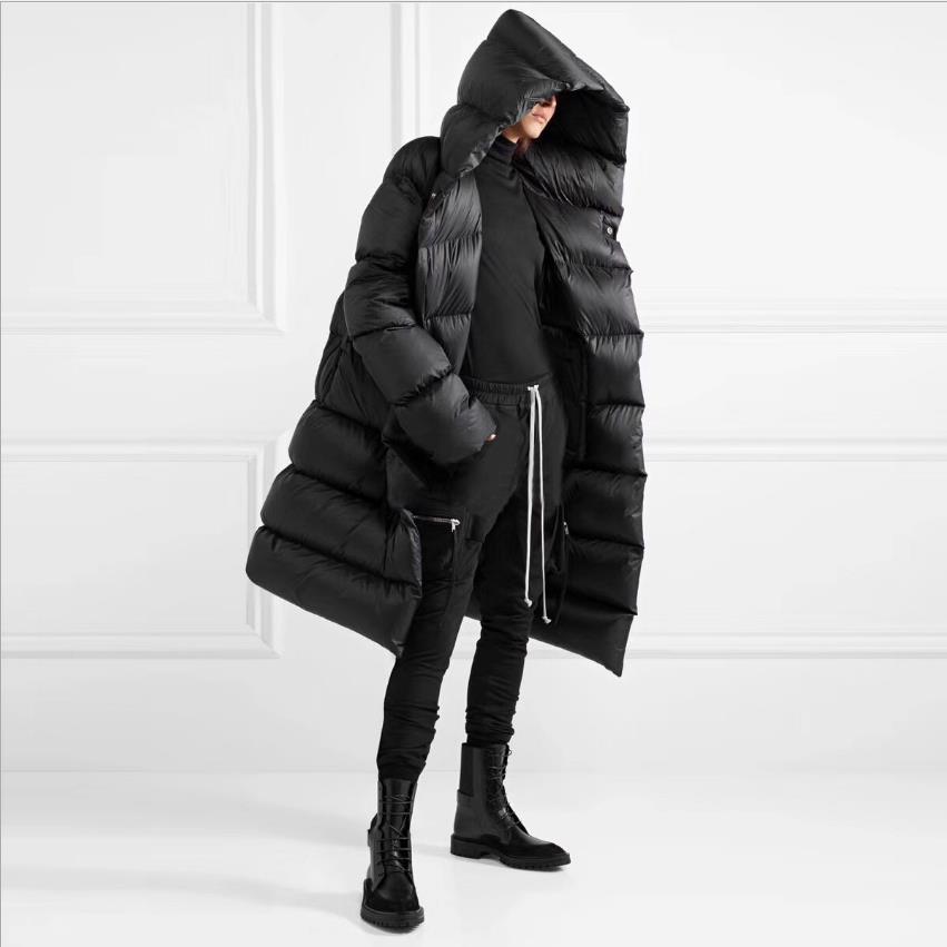 New fashion fluffy warm hooded oversize real   down   parkas   coat   female winter   coats   sleeve bread style longer warm jacket wq2592
