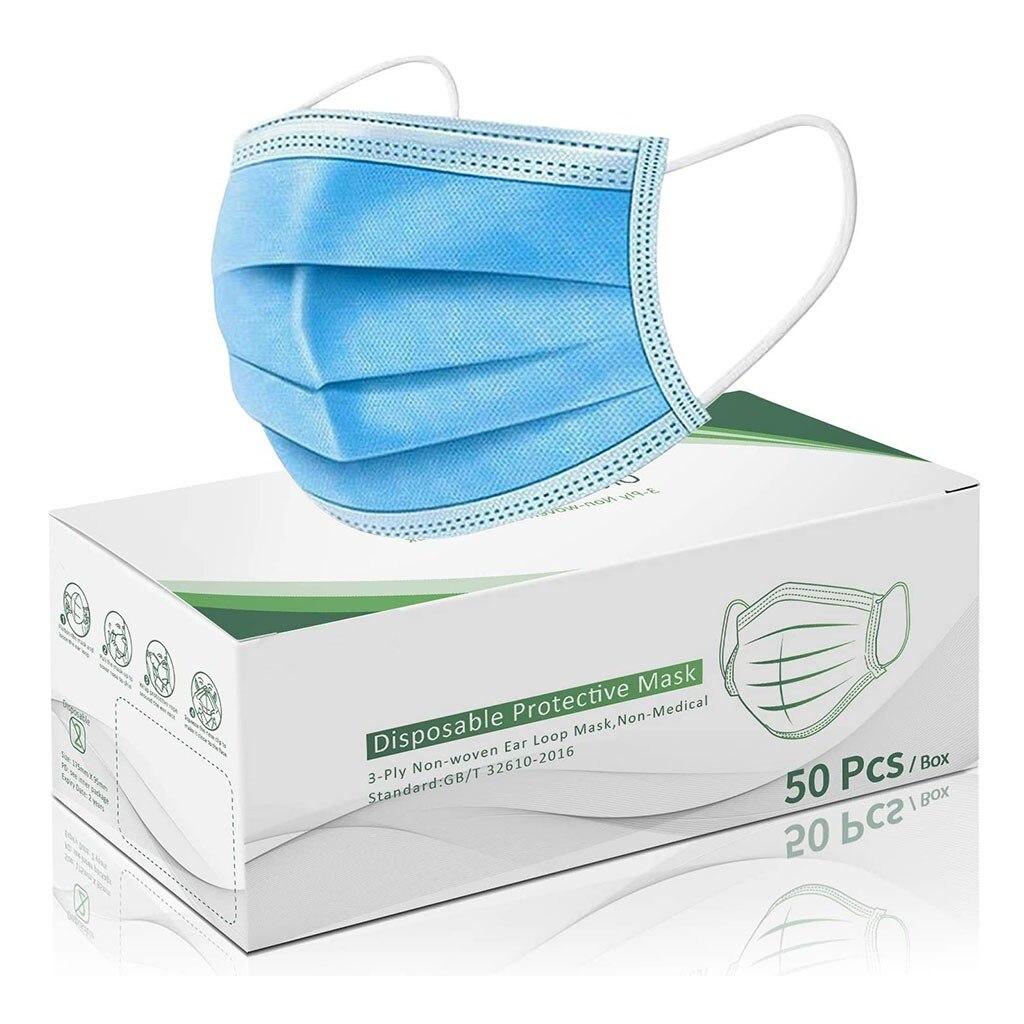 50 шт коробка маска для лица одноразовые маски с дышащей синей маской Защитная крышка для рта ушные маски|Женские маски|   | АлиЭкспресс