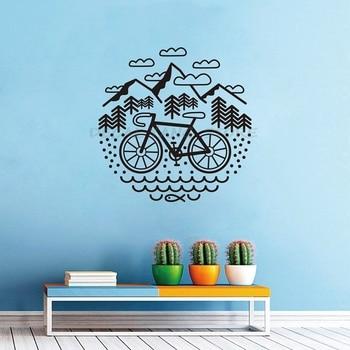 Calcomanía de pared para bicicleta y montaña, vinilo para bicicleta de grava, calcomanía de pared para ciclismo al aire libre, decoración de pared 1370