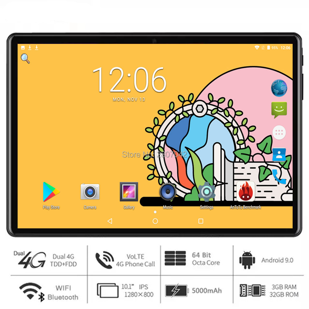 New 10 Inch Octa Core Tablet Andriod 9.0 OS 3G/4G LTE Phone Call 1280*800 IPS Screen 3GB RAM 32GB ROM Type-C 5G Wifi GPS Netflix