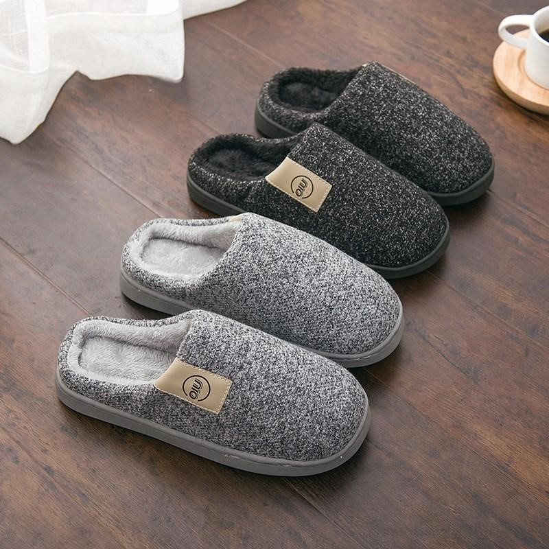 Men Winter Warm Slippers Fur Slippers Men Boys Plush Slipper Cotton Shoes Non-slip Solid Color Home Indoor Casual Slippers 5