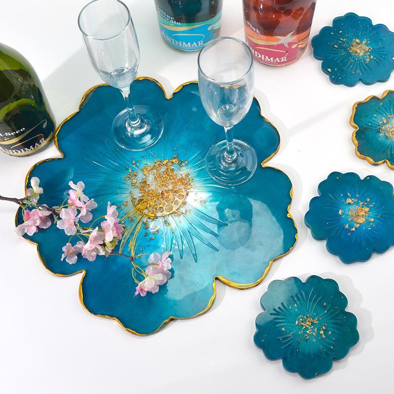 Molde de resina para posavasos DIY, molde de silicona para flores de cerezo para bandeja, artesanía de Arte de resina de cristal epoxi, molde de fundición para decoración del hogar