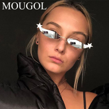 MOUGOL small cat eye sunglasses women rimless black silver mirror vintage sun glasses for ladies metal gold star shape