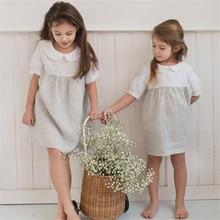 CALOFE пляжная одежда для маленьких девочек красивые льняные платья Платье До Колена для маленьких девочек детское Летнее Длинное Платье с отложным воротником