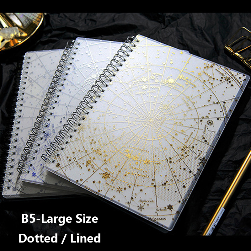 Dotted B5 Large Size Bullet Journal Spiral Notebook PP Hard Cover Gilding Crafts Handmade Planner 160 Pages 80 GSM Notepad Gift