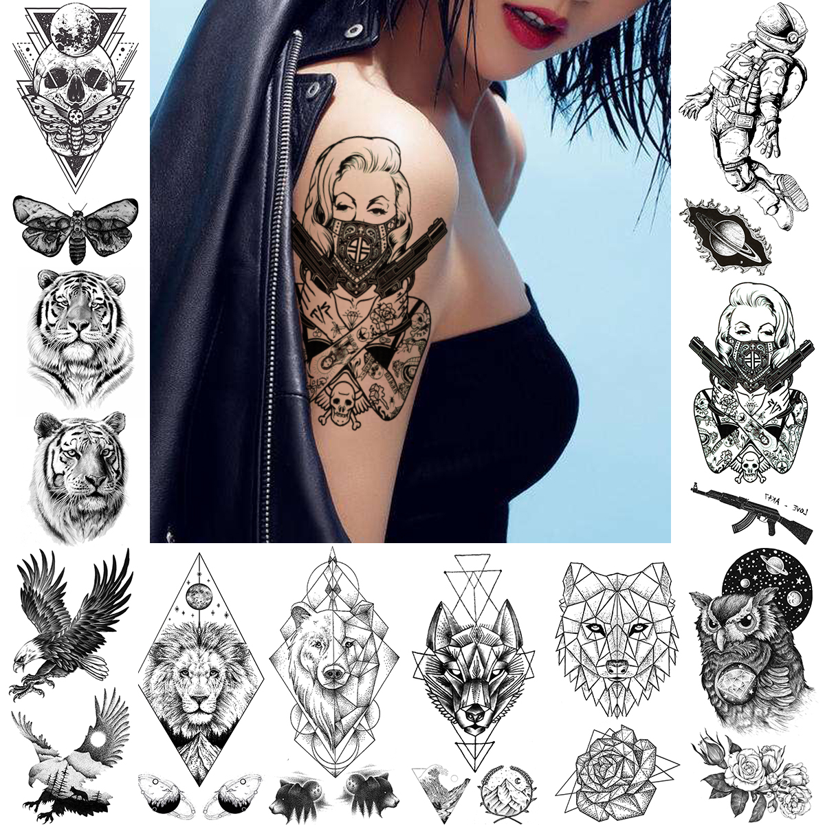 Rebellious Mask Women Temporary Tattoo For Adults Gun Gangster Warrior Tatoo Paper Realistic Black Fake Skull Owl Tattoo Sitcker