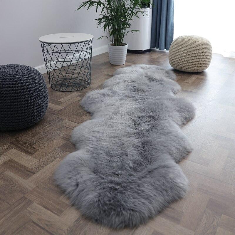 Selected light gray color full pelt genuine Australia sheepskin rug , shaggy sheep fur decoration floor mat, seat cushion