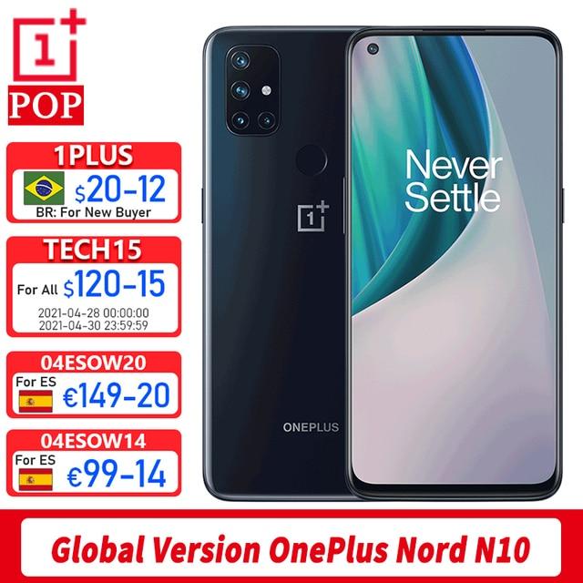 Versão global oneplus nord n10 5g telefone móvel 6.49 polegada 90hz exibição suave 6gb 128gb snapdragon 690 64mp quad camera nfc 1