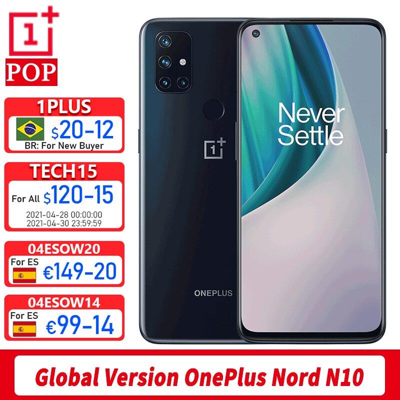 Глобальная версия OnePlus Nord N10 5G мобильный телефон 6,49 дюймов 90 Гц гладкая Дисплей 6 ГБ 128 Snapdragon 690 64-мегапиксельная четырехъядерная камера NFC