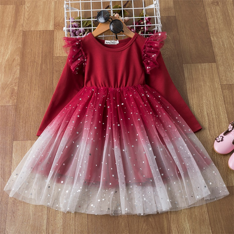 Christmas Dress For Girls Winter Long Sleeve Lace Princess Dress Children New Year Party Red Clothing Wedding Birthday Ball Gown 1