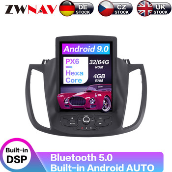 Carplay DSP Android 9.0 PX6 Vertical Tesla Radio Screen Car Multimedia Player Stereo GPS Navigation For Ford Kuga 2013-2017