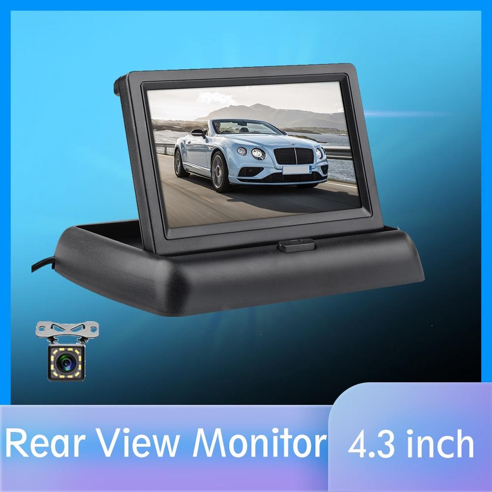 4.3 นิ้ว HD มุมมองด้านหลังรถพับได้ Reversing จอแสดงผล TFT LCD พร้อม Night Vision กล้องมองหลังสำรองสำหรับรถยนต์