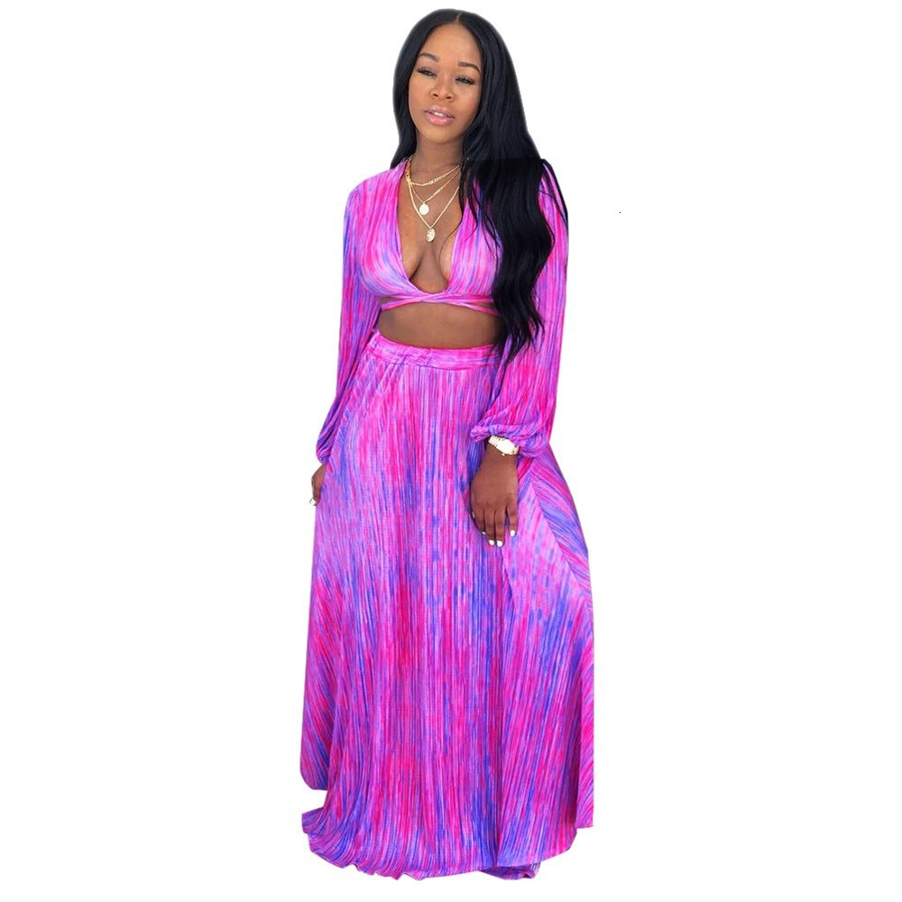 Women Deep V-Neck Crop Top And Long A-Line Skirt Print Two Piece Suit Short Nice Tide Sexy High Waist Outfits Chiffon Sets