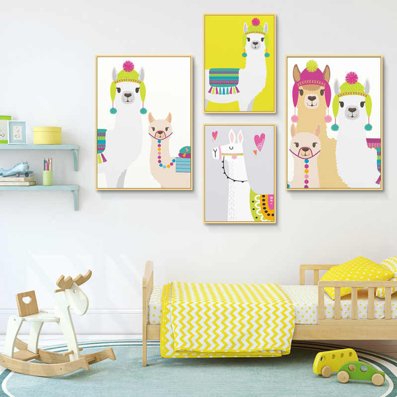 Cute Colorful Llama Family Wall Art Print Nursery Canvas Painting Tropical Cactus Posters Kids Playroom Bedroom Decor Picture