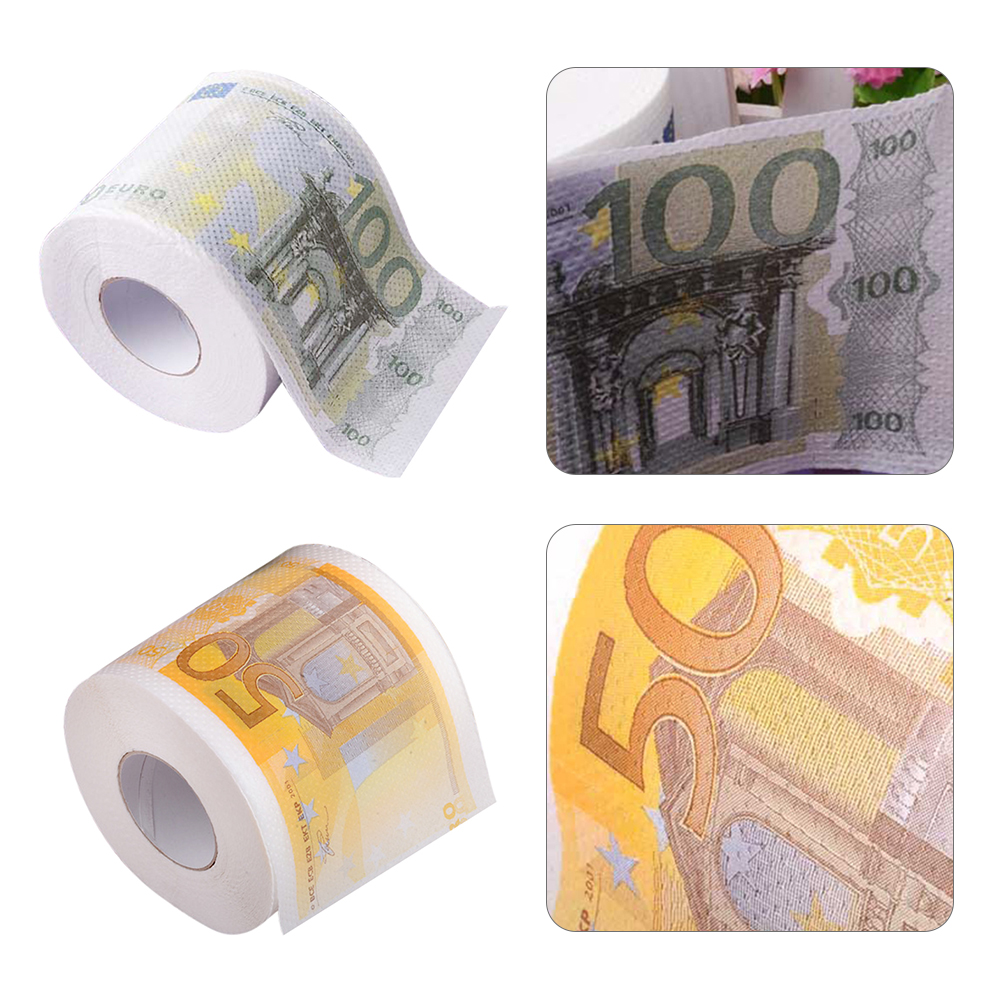 50/100 EUR Bill Printed Toilet Paper Europe EUR Tissue Novelty Funny €100 Money Roll Gag Gift Toilet Paper Decorated