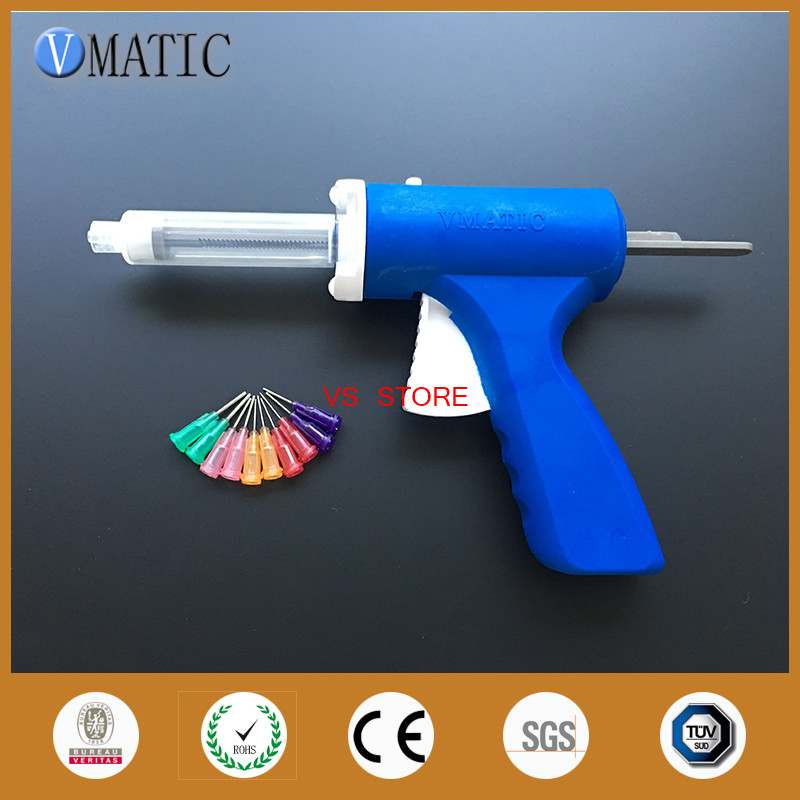 Free Shipping 10ml Manual Syringe Gun Single Liquid Glue Caulking Gun 10cc Common 1Pc + 10cc Cones 1Pc + Dispensing Needle