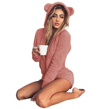 Women Bodysuit Plus Size Jumpsuit Women Long Sleeve Sexy Bodysuit  Loose Solid Playsuits Hoodie Teddy Jumpsuit Hairy Soft Downy недорого