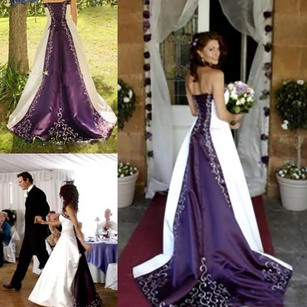 Hot White And Purple Wedding Dresses Embroidery Vestido De Custom Made A-Line Strapless Lace Up Back Chapel Train Bridal Gowns