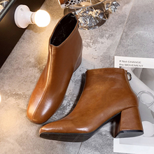 White Boots Elegant Ankle For Women Fashion High Heels Autumn Winter 2019 New Leather Brown