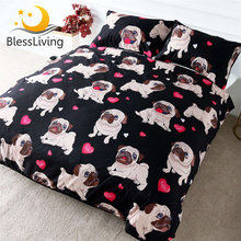 BlessLiving Pug Bedding Set Cartoon for Kids Duvet Cover 3-Piece Bulldog Bed Cover Set Queen Cute Pug Love Hearts Bed Linen(China)