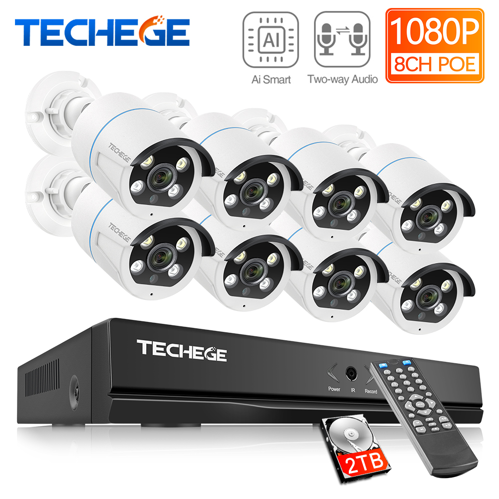 Techege H.265 8CH 1080P POE Security Camera System Kit Two Way Audio IP Camera Outdoor Waterproof AI Human Detection 2MP NVR Set
